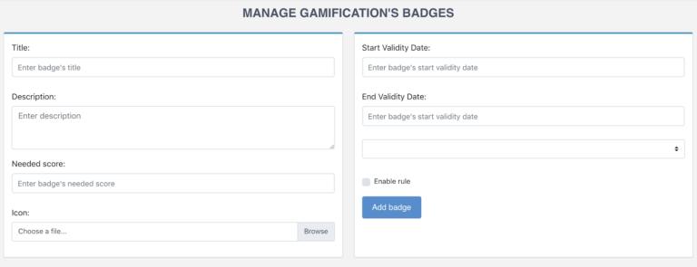 Configuration des badges exo gamification